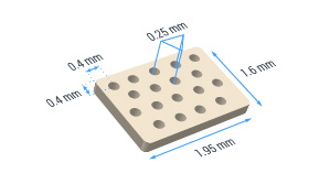 36 hole ceramic substrate with 250 micron hole separation