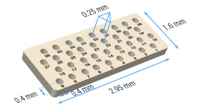18 hole ceramic substrate with 250 micron hole separation